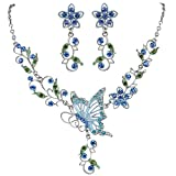 EleQueen Women's Austrian Crystal Butterfly Flower Leaf Necklace Earrings Set Silver-Tone Blue Sapphire Color