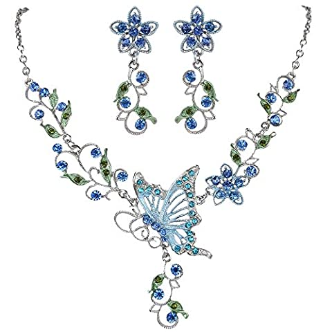 EleQueen Women's Austrian Crystal Butterfly Flower Leaf Necklace Earrings Set Silver-Tone Blue Sapphire - Crystal Wrap Necklace