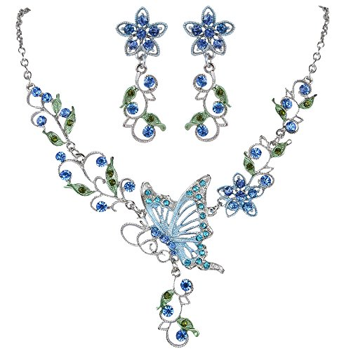 EleQueen Women's Austrian Crystal Butterfly Flower Leaf Necklace Earrings Set Silver-Tone Blue Sapphire Color by EleQueen