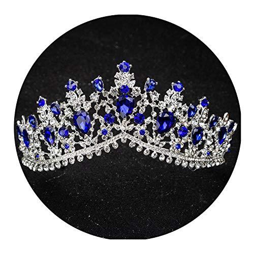 Red Green Crystal Big Crown Headwear Bridal Wedding Hair Accessories Bride Princess Crowns,Silver Blue -