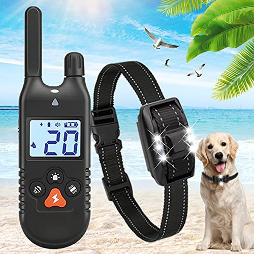 iTecFreely Dog Training Collar with Remote, Electronic Dog Shock Collar with 3 Mode Beep,Vibration,Shock, 3300Ft Range,E Dog Bark Collar Waterproof Rechargeable with Light for Large Medium Small Dogs