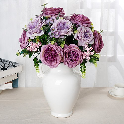Artificial Peony Flower Bouquet for Wedding Purple - 9