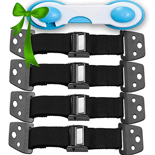 METAL Anti Tip Furniture Kit - TV Straps Safety -4 PACK + GIFT- Earthquake Straps - Furniture Anchors For Baby Proofing - Wall Straps For Flat Screens - Child Proof Mounting Straps, Childproof Antitip (Best Way To Secure Furniture To Wall)