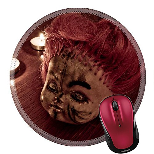 Liili Round Mouse Pad Natural Rubber Mousepad Scary Doll face and Burning Candles on The Wooden Table Image ID 13997926 ()