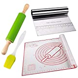 Pastry Mat for Rolling Dough - 4 pcs Non-Stick Mat and Dough Roller Cutter Scraper and Basting Brush Set Foundant For Baking Caking Reusable Counter With Measurements