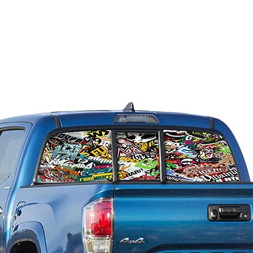 Rear Window Graphic Kit - Gold Fish Decals Rear Window Perforated See Thru Graphic Sticker Bomb Decal Sticker Compatible with Toyota Tacoma