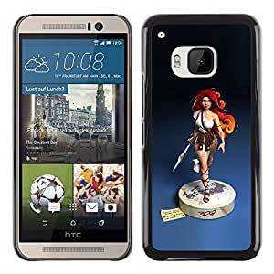 Plastic Shell Protective Case Cover || HTC One M9 || Blue Statue Woman Warrior @XPTECH