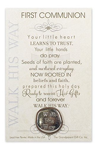 First Communion Walk His Way Pewter Coin with Sentiment Card