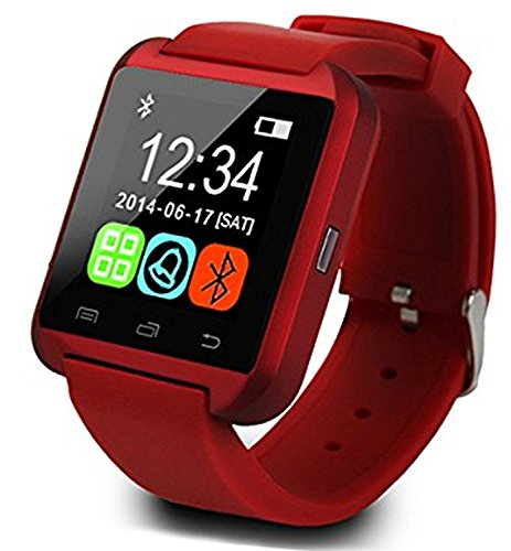 U8 Smartwatch UWatch Bluetooth Smart Watch Fit for Samsung Galaxy S4/S5/S6/S7 Edge Note 3/4/5 HTC Nexus Sony LG Huawei Android Smartphones (Red)