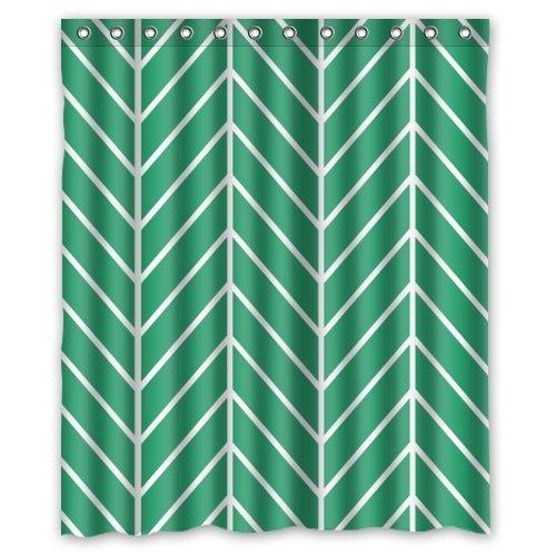 Tic-Tac Curtains Emerald Green Herringbone Chevron,Bathroom Mildew Proof Polyester Fabric 60