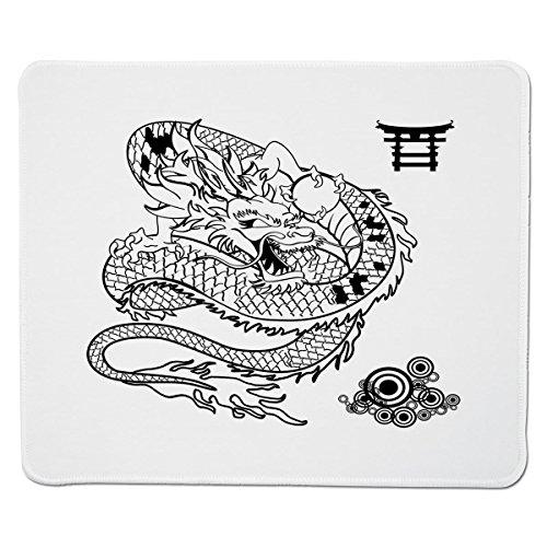 Mouse Pad Unique Custom Printed Mousepad [ Japanese Dragon,Tattoo Art Style Mythological Dragon Figure Monochrome Reptile Design,Black White ] Stitched Edge Non Slip Rubber
