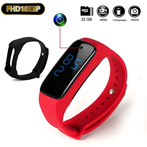 HD 1080P 32G Buckle Bracelet Sport Watch Camera Rechargeable Protable Wristband Spy Camera with Vibrate Function ()
