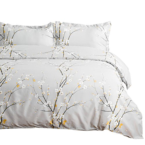 Bedsure Spring Bloom Pattern Bedding Set Full/Queen (90x90 inches) Duvet Cover Set Light Grey Printed Modern Comforter Cover-3 Pieces-Ultra Soft Hypoallergenic Microfiber (Light Comforter Yellow)