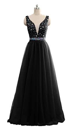 QSYE Womens Beaded Prom Dresses V-Neck Tulle Long Evening Formal Gowns 2018 Black,