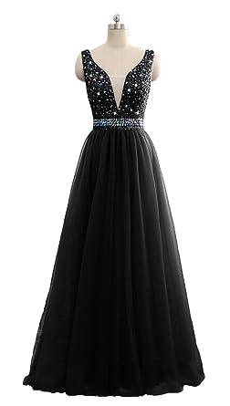QSYE Womens Beaded Prom Dresses V-Neck Tulle Long Evening Formal Gowns 2018 Black,