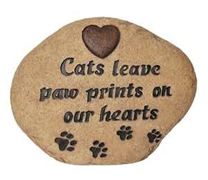 Vivid Arts - Piedra decorativa con inscripción, diseño de huellas de gato