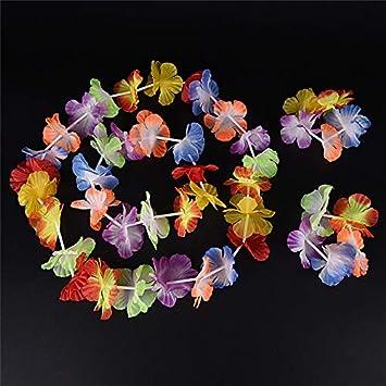 Amazon Com Flower Garland Wholesale 4pcs Set Hawaiian Colorful