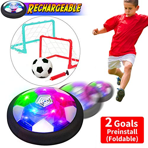 Kids Toys [Upgrade]Rechargeable Hover Soccer Ball Set with 2 Preinstall Goals LED Air Floating Football Foam Bumper Indoor Outdoor Sports Toys Birthday Gift for Girls Boys Age 2 3 4 5 6 7 8 9 11