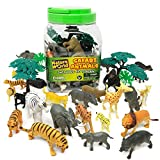 Boley 40 Piece Wild Sunny Safari Animal Bucket - Assortment of Miniature Plastic Toy Safari Animal Figurines for Kids, Children, Toddlers - Includes Elephants, Tigers, Zebras,and More!
