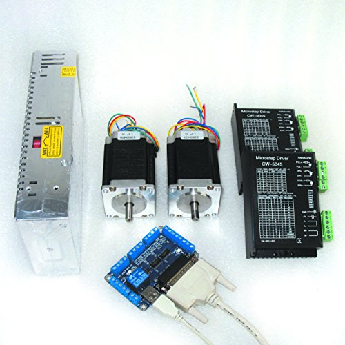 2 Axis Nema23 Stepper Motor 308oz-in 81mm 23HS9430+CW5045 Driver 256 microstep 4.5A CNC Controller Kit for CNC Router