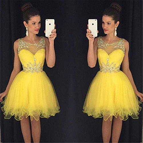 Seite CoCogirls Träger Sexy Yellow Abendkleid Cocktail Partykleid Neu mit Ballkleider Perlen Kurz Ärmellos rapPXqZa1