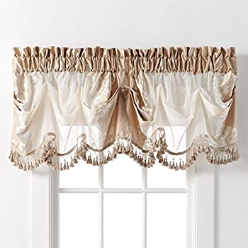 danbury embroidered window treatments by goodgram assorted colors and sizes beige single valance
