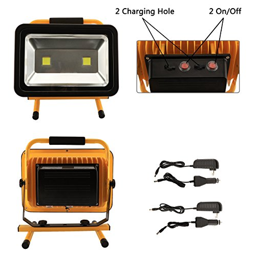 8 Hr Super Bright 100W Spotlights LED Outdoor Work Lights Camping Lights,Built-in Rechargeable Lithium Batteries IP65 Waterproof Portable Emergency Floodlight by Eurus Home (Image #4)
