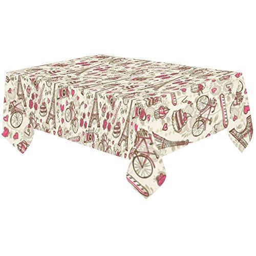 InterestPrint Vintage Paris Eiffel Tower Cotton Linen Tablecloth 60 X 120 Inches, Romantic London Desk Sofa Table Cloth Cover for Party Decor Home Decoration