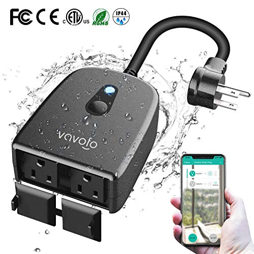 VAVOFO Outdoor Smart Plug, WiFi Outlet with 2 Sockets, Compatible with Alexa Google Home, IP44 Waterproof, Wireless Remote Control Timer & Countdown by Smartphone APP (Temperature Control Cover)