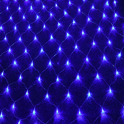 LED String Lights Net Mesh Lights 9.8ft x 6.6ft 204 Dimmable with Controller Tree-wrap with 8 Modes for Wedding Christmas Outdoor Garden (Blue) (Lights Web Led Battery)