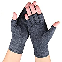 Arthritis Gloves - Relief Finger Joint Pain, Compression Gloves for Arthritis in Hands - Arthritic Fingerless Gloves (Small, Heather Grey)