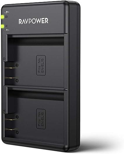 EN-EL15 EN EL15a RAVPower Dual Slot Battery Charger Compatible with Nikon D750, D7200, D7500, D850, D610, D500, MH-25a, D7200, Z6, D810 ...