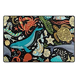 U LIFE Vintage Ocean Sea Aquatic World Shells Starfish Jellyfish Seahorse Large Doormats Area Rug Runner Floor Mat Cover Carpet for Entrance Way Living Room Bedroom Kitchen Office 31 x 20 Inch 2.5