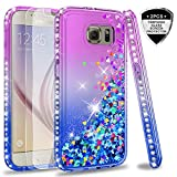 LeYi Case for Galaxy S6 with Glass Screen Protector [2 pack], Glitter Liquid Flow Luxury Clear Transparent Diamond Personalised TPU Gel Silicone Shockproof Cover for Samsung Galaxy S6 Purple Blue
