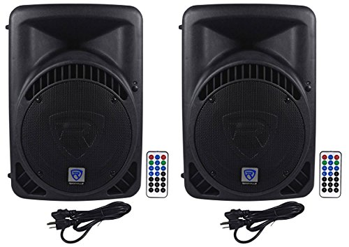 (2) Rockville RPG12BT 12'' Powered DJ PA Speakers BlueTooth, USB, SD - 1600w by Rockville