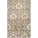 Superior Designer Augusta Collection Area Rug, 8mm Pile Height with Jute Backing, Beautiful Floral Scalloped Pattern, Anti-Static, Water-Repellent Rugs - Light Blue, 5' x 8' Rug