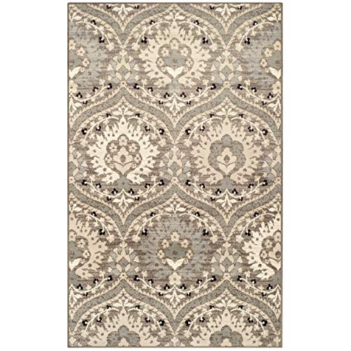 - Superior Elegant Augusta Area Rug, Floral Scalloped Contemporary Pattern, 8' x 10', Light Blue