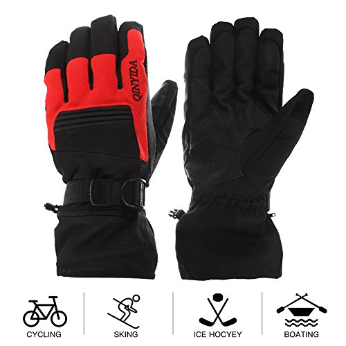 Mounchain Winter Ski Gloves Waterproof Windproof and Breathable Snow Gloves Fit Women and Men with Wrist Leashes, Zipper and Pocket, Anti-Slip PU Palm and Polyester Fabric Back ()