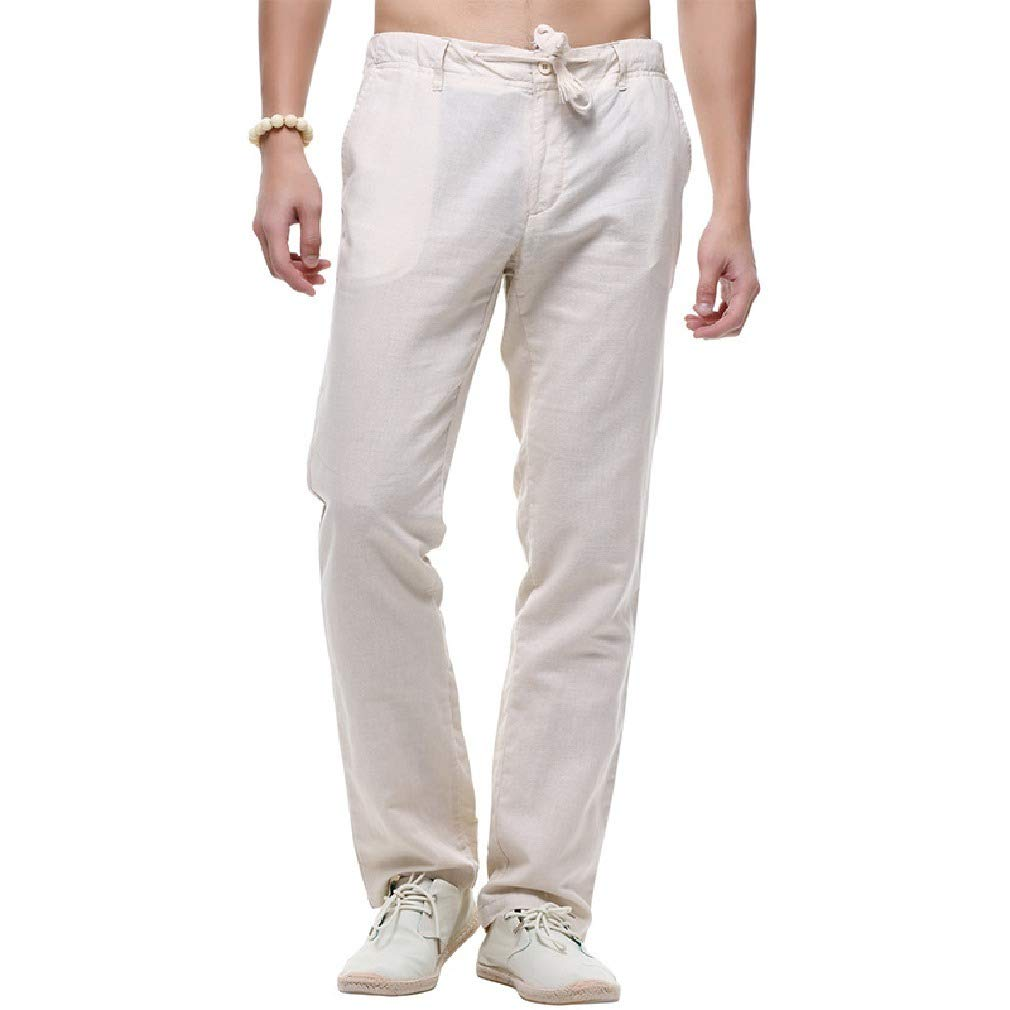 Winwinus Mens Drawstring Casual Beach Trousers Linen Lightweight Pants