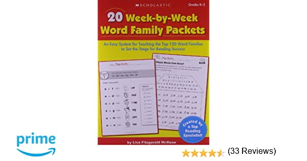 Amazon.com: 20 Week-by-Week Word Family Packets: An Easy System ...
