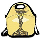 Reusable Lunch Tote Bag Polyster For School,Giraffe Same Sex Wedding Zipper Snack Tote For Adults