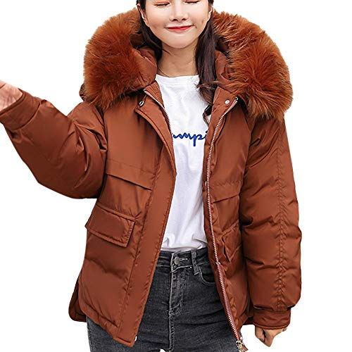 (NUWFOR Women's Winter Warm Coat Hoodie Parkas Overcoat Fleece Outwear Jacket Drawstring(Brown,2XL))