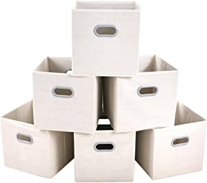 MAX Houser Fabric Cloth Storage Bins,Foldable Storage Cubes Organizer Baskets with Dual Handles for Home Bedroom Storage,Set of 6(Beige)