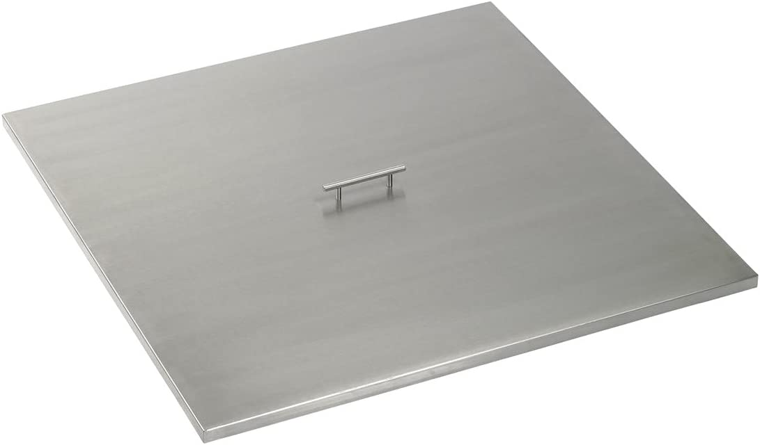 American Fireglass CV-SQP-36 Stainless Steel Cover For 36 Inch Length x 36 Inch Width Drop-In Fire Pit Pan