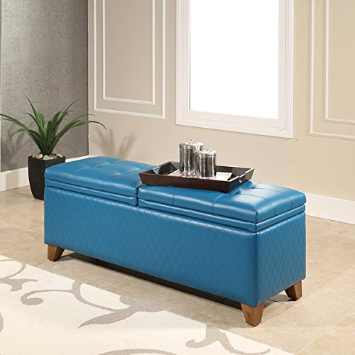 Abbyson Matlock Turquiose Leather Quilted Storage Ottoman by Abbyson