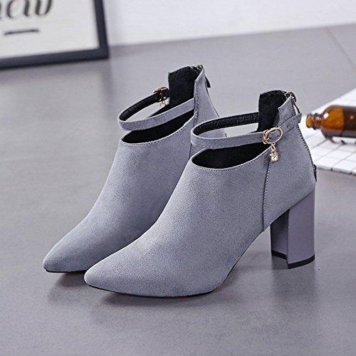 y y hembra alto los zapatos invierno otoño tamaño Gruesas de six tacón de puntiagudos Thirty gran cortas botas Donyyyy SWq5H6wW