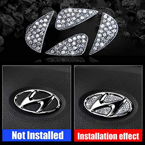 Unique Crystal Diamond Rhinestone Bling Car Steering Wheel Emblem Badge 3D Sticker Decorations Trim for