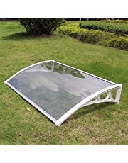 Outdoor Canopy Transparent Roof Front Porch Awning, Polycarbonate Door Canopy Suitable for House Facade - Size Optional (Black, Gold, White)