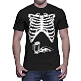Mens Skeleton With Pizza And Beer - Halloween T-shirt (Large, BLACK)