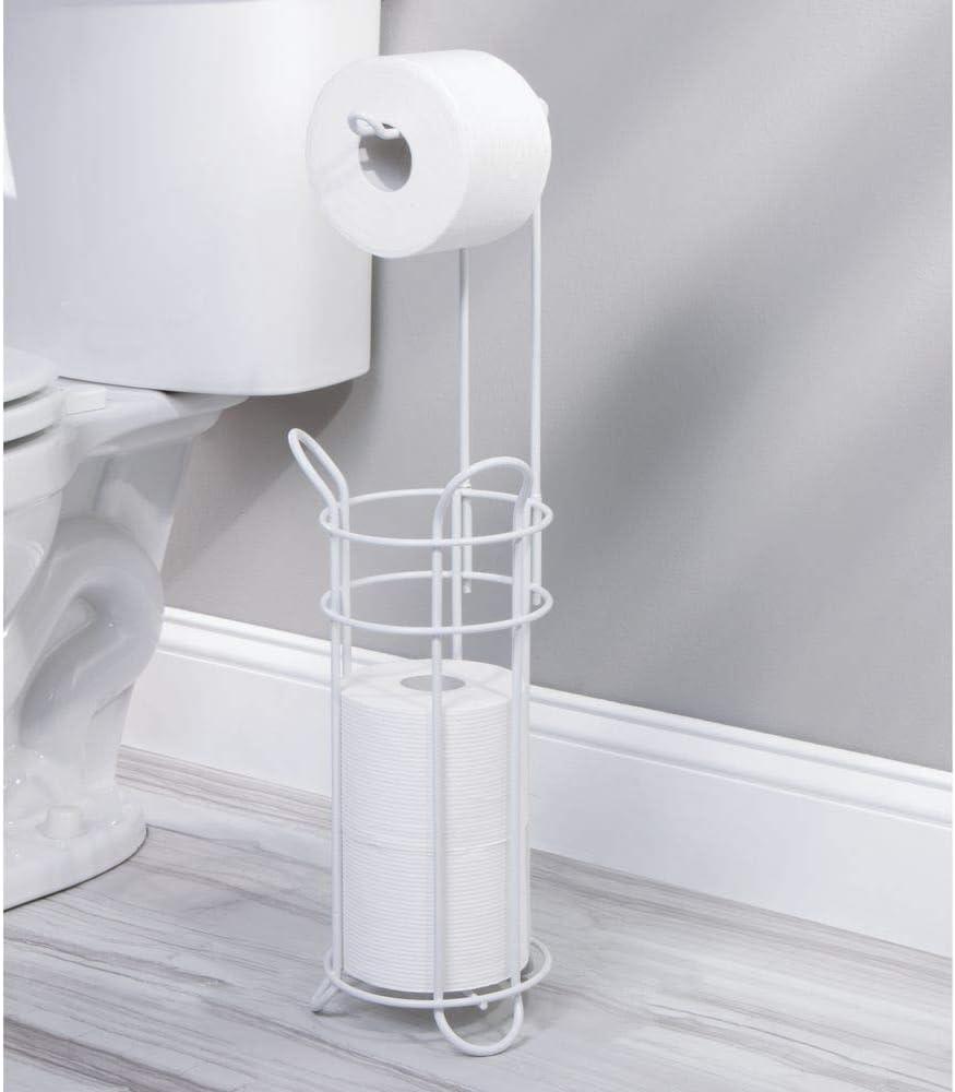 porte-rouleaux autoportant pour la salle de bain blanc mat montage sans per/çage d/érouleur de papier WC en m/étal pour 4 rouleaux mDesign support de papier toilette